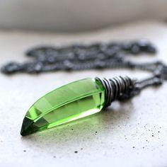 Spring Green Quartz Necklace Peridot Lime Green by GlitzGlitter, $58.00