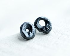 Items similar to tiny bizarre calligraphy circle post earrings, raw textured black oxidized sterling silver small minimalist circular stud earrings on Etsy Oxidized Sterling Silver, 925 Silver, Handcrafted Jewelry, Unique Jewelry, Rings For Men, Stud Earrings, Texture, Etsy, Studs