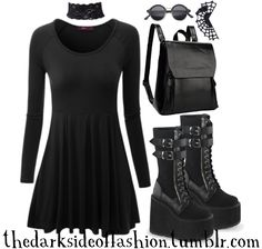 """thedarksideoffashion: """"What is romance? (store links below) Dress $18 / Lace Choker $13 / Sunglasses $10 / Spiderweb Ear Cuff $9 / Backpack $36 / Boots $100 """""""