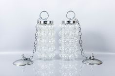 Pair Vintage Glass & Chrome Bubble Pendant Hanging Lights Swag Lamps by ThePapers on Etsy