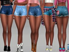 -a cute set of ripped shorts with floral pocket inspired by the fashion at Coachella! See second picture for closer view of front and back. Found in TSR Category 'Sims 4 Female Everyday'