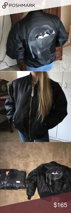 Kylie Jenner Blackout bomber jacket From The Kylie Shop, the lips on the back are embroidered, I had two but now only have the one still in the plastic Kylie Cosmetics Jackets & Coats