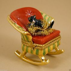 NEW FRENCH LIMOGES BOX BLACK & WHITE KITTY CAT ON GORGEOUS MOVING ROCKING CHAIR ebay.com