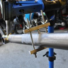 https://flic.kr/p/mDRVEP | clamping a water bottle mount for brazing