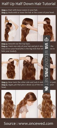simple and cute x Pretty Simple Wedding Hairstyles Tutorial for Long Hair: Ribbon Half Updo Wedding Hairstyles Tutorial, Wedding Hairstyles For Long Hair, Down Hairstyles, Pretty Hairstyles, Easy Hairstyles, Straight Hairstyles, Hairstyle Tutorials, Bridesmaids Hairstyles, Bridal Hairstyles