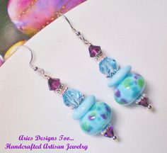 AquaPurple and Green Abstract Lampwork by ariesdesignstoo on Etsy