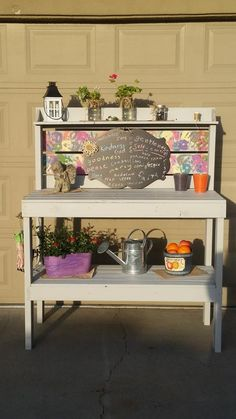 3rd: God Bless this Garden  A beautifully hand crafted potting table with spring colored hand prints from each student on the back boards. A removable chalk board to write a to-do list or an inspirational bible verse. This piece will make a perfect addition to your back yard!