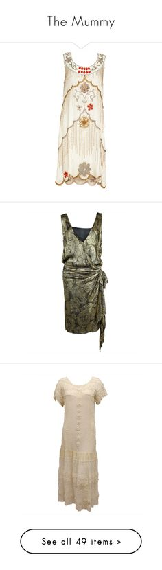 """""""The Mummy"""" by littlerin26 ❤ liked on Polyvore featuring dresses, flapper dress, white embellished dress, white flapper dress, gatsby dress, beaded dress, 1920s, flapper, vintage and 20s"""