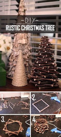 Twiggy DIY Rustic Christmas Tree