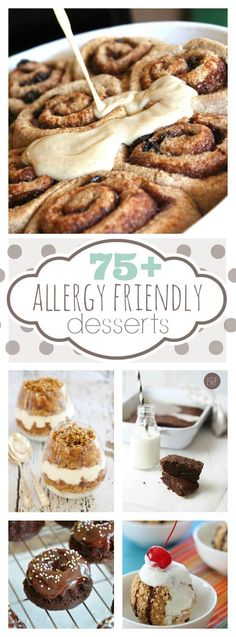 75 Allergy Friendly Dessert Recipes: Including dairy free, gluten free, nut free, and egg free. I'm back in baking baby! Patisserie Sans Gluten, Dessert Sans Gluten, Low Carb Dessert, Gluten Free Sweets, Dessert Recipes, Egg Free Desserts, Lactose Free Desserts, Dairy Free Snacks, Apple Desserts