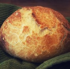 This makes a loaf of gorgeous bakery-style bread in a few mostly hands-off hours. I made it using a Kitchenaid Classic stand mixer and a 5-quart Le Crueset Dutch oven, but you can knead the dough by hand and any oven-safe lidded pot will work just fine, even a casserole.