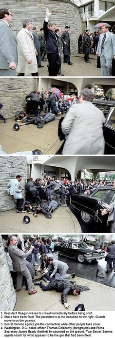 Monday, March 30, 1981, just 69 days into the presidency of Ronald Reagan. While leaving a speaking engagement at the Washington Hilton Hotel in Washington, D.C., President Reagan and three others were shot and wounded by John Hinckley, Jr.