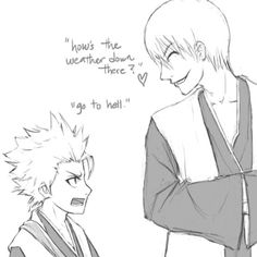 Toshiro Hitsugaya and Gin Ichimaru CHIBI?  HOW'S THE WEATHER SOWN THERE? UR 4 ft 4 in TALL