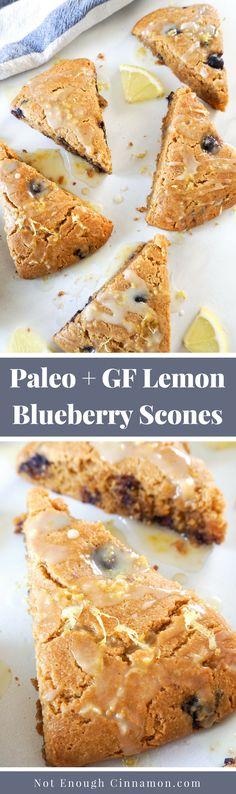 Glazed Almond Flour Lemon Blueberry Scones {Gluten Free + Paleo} - Not Enough Cinnamon