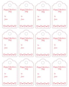 Valentines Tags – Free to Print – Wedding Favors Tags School Valentines Treats, Valentines For Kids, Diy Valentine's Bags, Valentine's Cards For Kids, Valentine's Day Printables, Printing Labels, Printable Tags, Printable Valentine Cards, Holiday Dinner