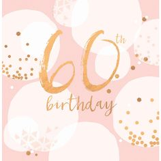 "Beautiful birthday card, featuring gold accents and pretty contemporary colours. With caption: ""65th Birthday"""