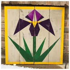 This beautiful custom iris barn quilt is ready to be put under the tree! Not only can I custom paint a barn quilt for you but I also offer… Barn Quilt Designs, Barn Quilt Patterns, Quilting Designs, Pallet Barn, Painted Barn Quilts, Barn Signs, Quilt Display, Bird Barn, Barn Art