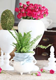 Valentines centerpiece using urns from #Lowes.  #Lowescreator