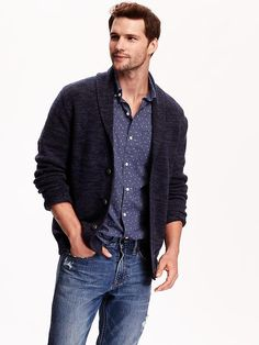Men's Shawl-Collar Cardigan Product Image