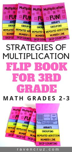 These multiplication strategies flip books offer your third-grade math students a fun way reinforce multiplication fluency. The 5 strategies of multiplication include; grouping or equal groups arrays repeated addition number lines and skip counting. Multiplication Strategies, Teaching Multiplication, Math Strategies, Teaching Math, Math Fractions, Fourth Grade Math, 3rd Grade Classroom, Second Grade Math, Math Classroom