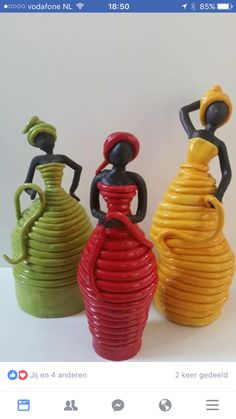 Great Photos Sculpture Clay vase Ideas There are numerous varieties of clay-based used for bronze sculpture, all varying in terms of dealing with an Glass Bottle Crafts, Wine Bottle Art, Oil Bottle, Pottery Sculpture, Sculpture Clay, Bronze Sculpture, Cardboard Sculpture, Angel Sculpture, Roman Sculpture