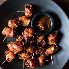 Well these (water) #chestnuts aren't roasting by the fire...but they are #bacon wrapped! #waterchestnuts