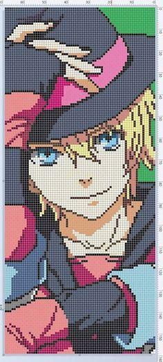 Photo Anime Pixel Art, Art Anime, Pixel Pattern, Pattern Art, Cross Stitch Designs, Cross Stitch Patterns, Pixel Art Grid, Art Perle, Pixel Art Templates