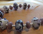 Delicately Purple -  Handmade Lampwork Glass Bead Colourful Flower Silver Artisan Necklace Handmade Jewellery, Colorful Flowers, Glass Beads, Etsy Seller, Artisan, Stud Earrings, Purple, Creative, Silver