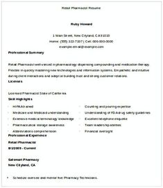 Retail Pharmacist Resume , Pharmacy Manager Resume , If You Are Applying  For Pharmacy Manager,  Pharmacy Manager Resume