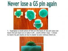 Never lose a GS pin again!  I saw this idea shared on FB so made a photo tutorial so others can see how to do it. Girl Scout Vest, Girl Scout Uniform, Girl Scout Badges, Girl Scout Leader, Girl Scout Swap, Girl Scout Troop, Boy Scouts, Scout Mom, Daisy Girl Scouts