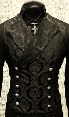 SHRINE GOTHIC VAMPIRE CAVALIER BLACK VEST JACKET VICTORIAN TAPESTRY STEAMPUNK #ShrineClothing