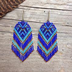 Fractal seed bead earrings sacred by DancingWillowDesign Seed Bead Jewelry, Bead Jewellery, Seed Bead Earrings, Fringe Earrings, Seed Beads, Crochet Earrings, Native American Beading, Bugle Beads, Bracelets