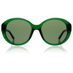 The Row Bottle Green and Black Leather Jackie O Sunglasses (306 385 LBP) ❤ liked on Polyvore featuring accessories, eyewear, sunglasses, green, black sunglasses, uv protection sunglasses, black glasses, lens glasses and uv protection glasses