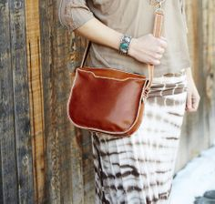 Learn how to sew with leather in the Apr/May 2014 issue. Get a FREE pattern to make this leather satchel now!  #Sew #Leather
