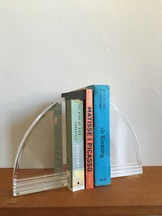 Vintage lucite modernist bookends. clear lucite hollywood regency mid century…