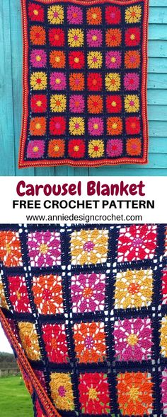 Crochet Blankets Design Carousel Blanket – Free Crochet Pattern with a beautiful square and a linen stitch border Crochet Blanket Edging, Crochet Motif Patterns, Crochet For Beginners Blanket, Crochet Chart, Crochet Squares, Free Crochet, Crochet Blankets, Crochet Afghans, Afghan Patterns