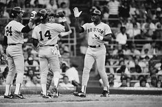 Boston Red Sox' Don Baylor is greeted by Jim Rice after he hit a tworun homerun with Rice on base in the fourth inning of the game with Chicago late...