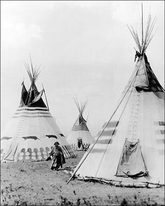 Indian Woman in Blood Camp with Tipis 1913 Photo