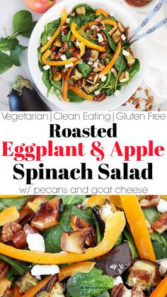 Spinach & Roasted Eggplant Salad | This healthy and easy vegetarian meal has roasted eggplant and baked apples. Throw these on a bed of baby spinach, julienned bell pepper, crumbled feta or goat cheese, and pecans. You can make your own vinegar dressing too! Low carb, gluten free (& grain free), and dairy free (if you omit the cheese) has all the clean eating vibes. Eat these roasted veggies for a 21 day fix or Whole30 snack. Serve in the fall at Thanksgiving like me! Vegetarian Meal, Vegetarian Recipes Easy, Vegetable Recipes, Vegan Meals, Roasted Eggplant Salad, Roast Eggplant, Roasted Apples, Baked Apples, Grain Free