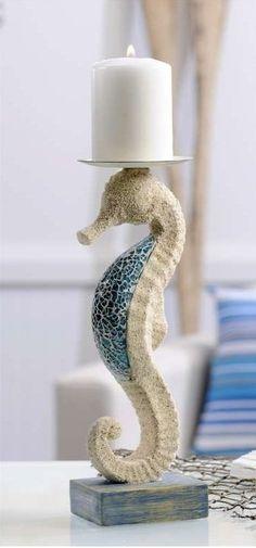 New Mosaic Glass Seahorse Sculpture Candle Holder Home Decor Coastal Accent Art   eBay