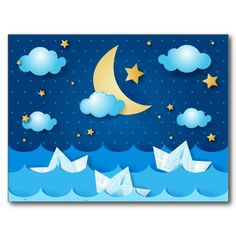 Sea at night by PinkHurricane #Zazzle store  #card #postcard