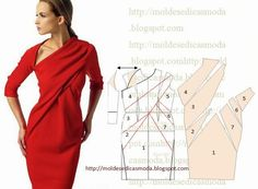 Risultati immagini per casaco tipo capa Dress Sewing Patterns, Sewing Patterns Free, Clothing Patterns, Diy Clothing, Sewing Clothes, Fashion Sewing, Diy Fashion, Costura Fashion, Patron Vintage