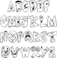 Fantastic Pics scary monster Coloring Pages Popular The gorgeous issue pertaining to colouring is that it is often as uncomplicated or even as complicat Graffiti Lettering Alphabet, Graffiti Font, Graffiti Drawing, Alphabet Art, Creative Lettering, Cool Lettering, Lettering Design, Monster Coloring Pages, Alphabet Coloring Pages