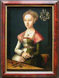 1520-1524 Jacob van Utrecht - Portrait of a woman holding a carnation