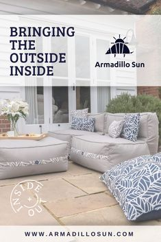 Key interior trends this year have included bringing nature into our homes through elements such as Bean Bag Furniture, Home Furniture, How To Build A Fire Pit, Flexible Furniture, Outdoor Bean Bag, Garden Cushions, Dream Beach Houses, Outdoor Rooms, Soft Furnishings