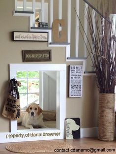 Indoor Doggy House Under The Stairs. I LOVE the window inside! If I ever own a house that this would work in, I'm doing it. (diy dog houses for inside) Under Stairs Dog House, House Stairs, Stairs Window, Cheap Dog Houses, Dream Home Design, House Design, Dog Bedroom, Bedroom Decor, Dog Spaces