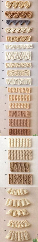 Коллекция красивых узоров для оформления края спицами