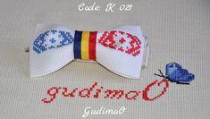 Kids Tricolor bow ties suite hand embroidery for Kids Moldova Romania handmade by gudimaO