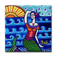 Mermaid Art Tile - Fantasy Fish - Mexican Folk Art Ceramic Coaster Gift 4x4