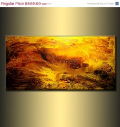 Abstract Art, Original Textured Abstract painting, Contemporary Modern Brown and yellow Fine Art by Henry Parsinia Large 48x24. $400.00, via Etsy.
